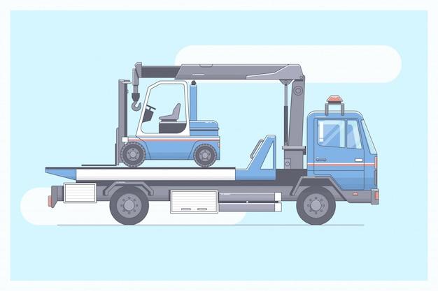 Caminhão de reboque, evacuador que entrega o carro de passageiro Vetor Premium