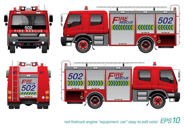 Caminhão de resgate de incêndio Vetor Premium