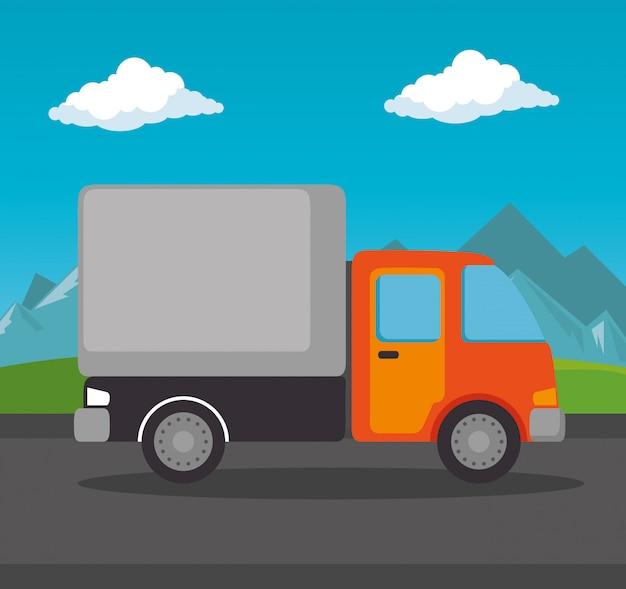 Caminhão de serviço de entrega isolado Vetor grátis