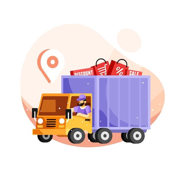 Caminhão de serviço de entrega Vetor Premium