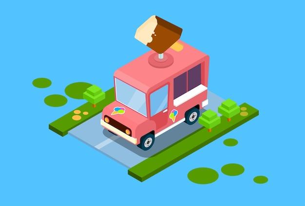 Caminhão de sorvete 3d design isométrico Vetor Premium