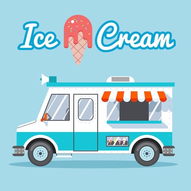 Caminhão de sorvete à venda em um fundo azul. Vetor grátis
