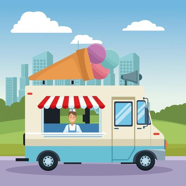 Caminhão de sorvete Vetor Premium