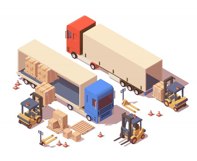 Caminhão de transporte, porta-paletes e empilhadeira carregando paletes com caixas de papelão. Vetor Premium