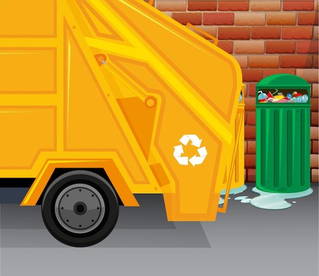 Caminhão lixo, colher, lixo Vetor grátis