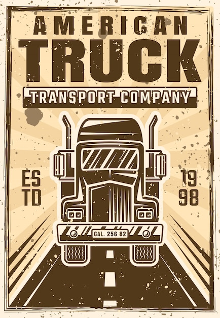 Caminhão no cartaz de publicidade de vetor de estrada em vintage Vetor Premium