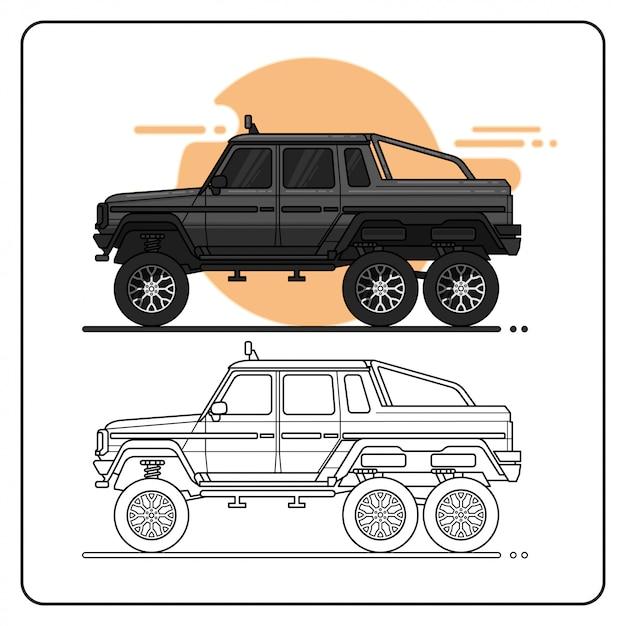 Caminhão offroad de monstro fácil editável Vetor Premium