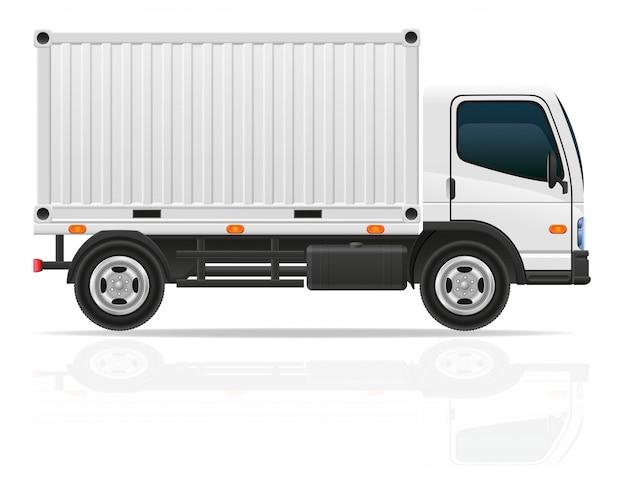 Caminhão pequeno para ilustração vetorial de carga de transporte Vetor Premium