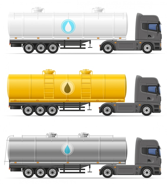 Caminhão semi-reboque com tanque para transporte de ilustração vetorial de líquidos Vetor Premium