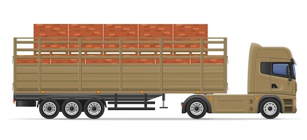 Caminhão semi reboque entrega e transporte de materiais de construção conceito ilustração vetorial Vetor Premium