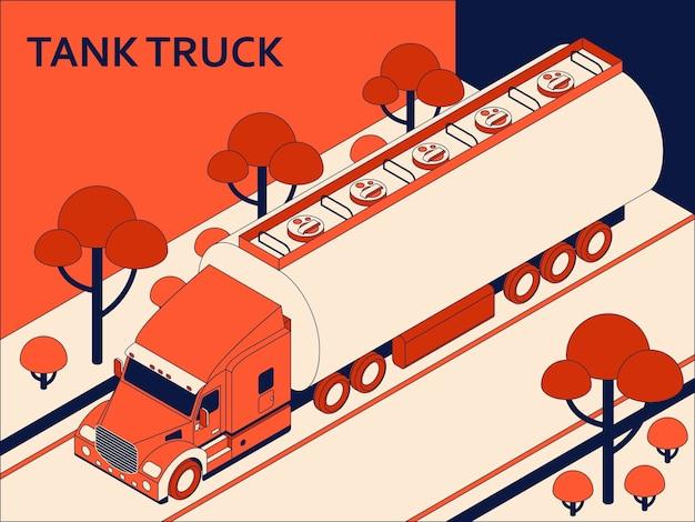 Caminhão-tanque isométrico para transporte de óleo e petróleo em movimento na estrada. conceito de transporte de carga Vetor Premium