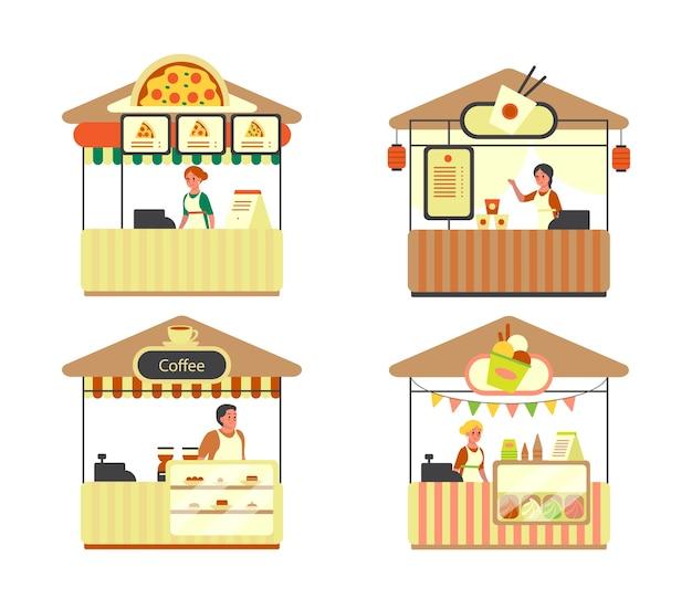 Caminhão urbano de rua e fastfood. pizza, café, sorvete e barra de macarrão de arroz. lanche ao ar livre, em festas de rua. Vetor Premium