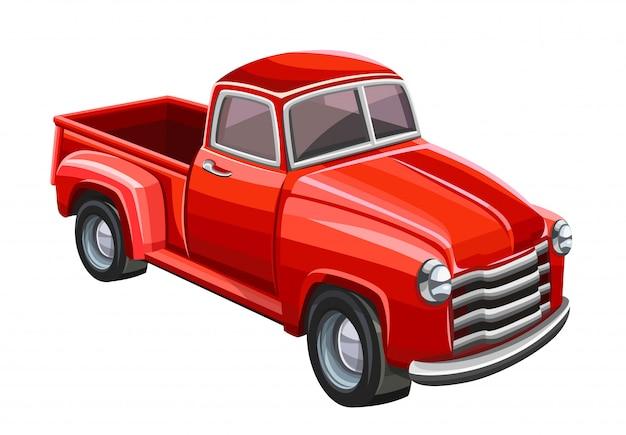 Caminhão velho vermelho. ilustração Vetor Premium