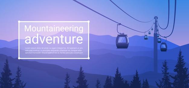 Caminho de corda de transporte de teleférico sobre montanha colina fundo de banner de natureza com espaço de cópia Vetor Premium