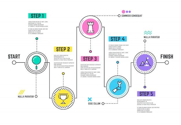 Caminho de jornada da empresa. roteiro de modelo de infográfico com cronograma de linha de passos Vetor Premium