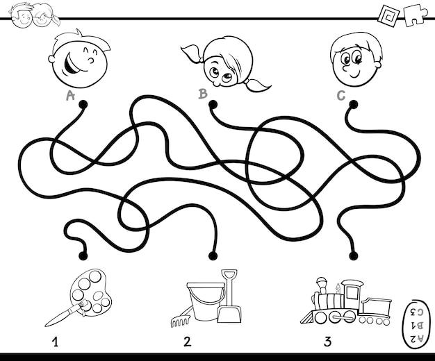 Caminho De Labirinto Jogo De Atividade Para Colorir