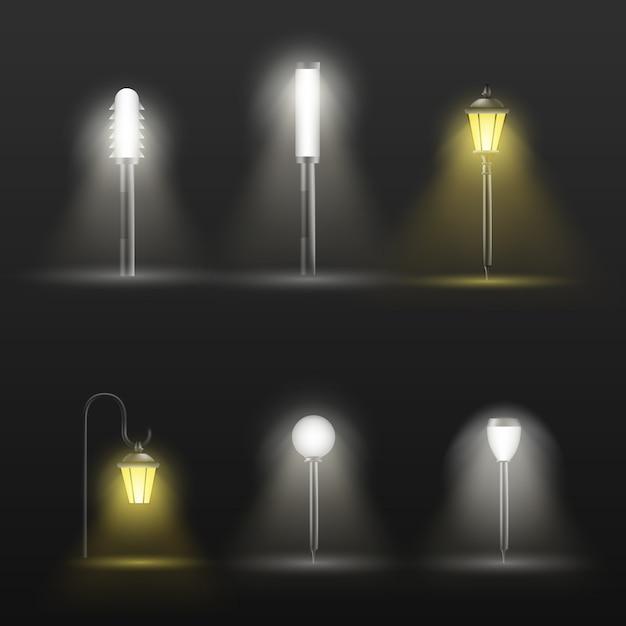 Caminho, lâmpadas ao ar livre de passarela em design moderno e clássico Vetor grátis