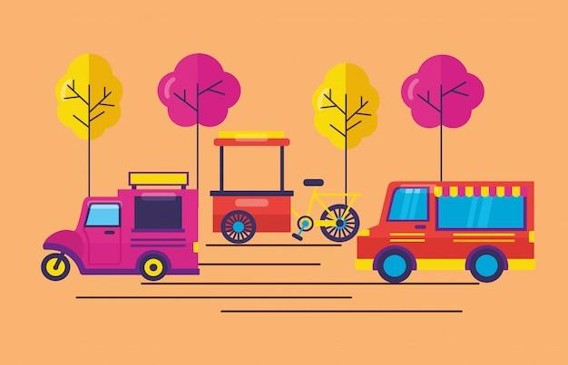 Caminhões de comida em estilo simples Vetor grátis