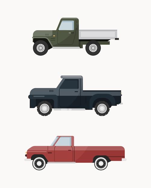 Caminhonete vintage. conjunto de caminhonete. Vetor Premium