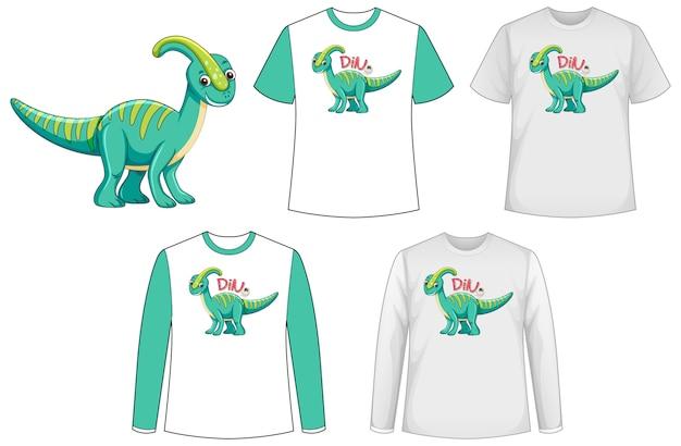 Camisa com personagem de desenho animado de dinossauro Vetor grátis