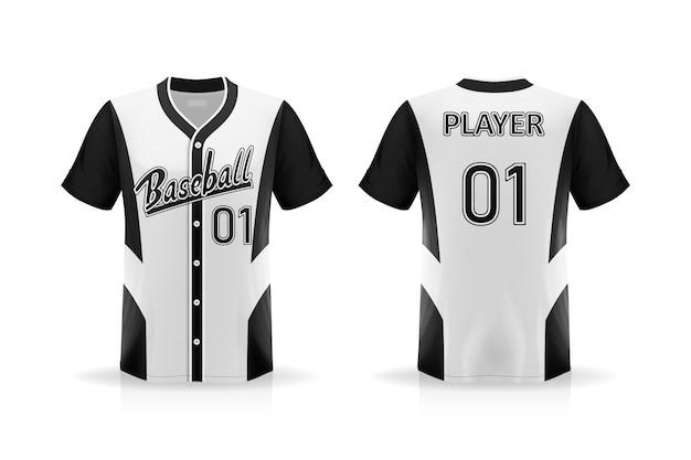 Camisa de beisebol t de especificação isolada no fundo branco, espaço em branco na camisa para e colocar elementos ou texto na camisa, em branco para impressão, ilustração Vetor Premium