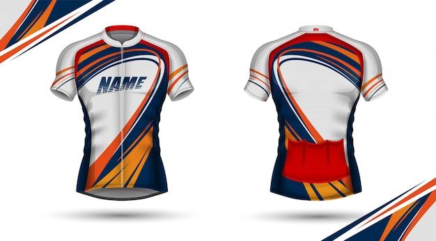 Camisa de ciclismo, frente e verso Vetor Premium