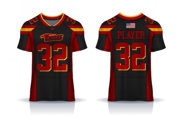 Camisa de futebol americano, modelo de design de esporte de t-shirt. frente uniforme e vista traseira. Vetor Premium