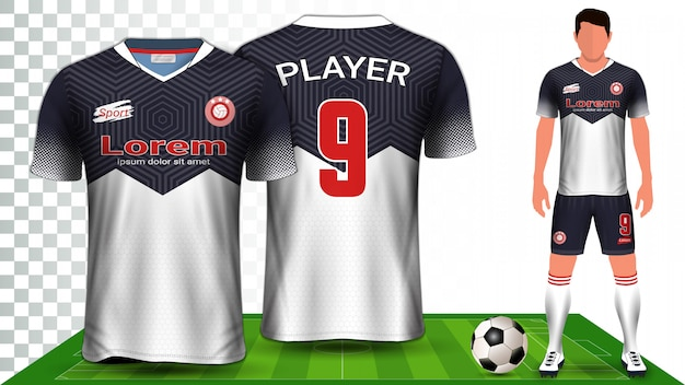 Camisa de futebol, camisa de esporte ou modelo de apresentação uniforme de futebol kit. Vetor Premium
