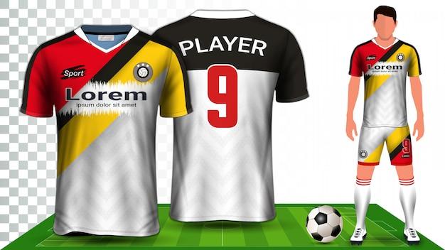 Camisa de futebol, camisa de esporte ou modelo de maquete de apresentação de uniforme de futebol kit. Vetor Premium