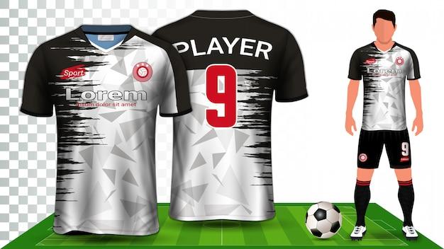 Camisa de futebol, camisa esportiva ou uniforme de futebol Vetor Premium