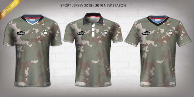 Camisa de futebol e modelo de maquete de esporte de t-shirt. Vetor Premium