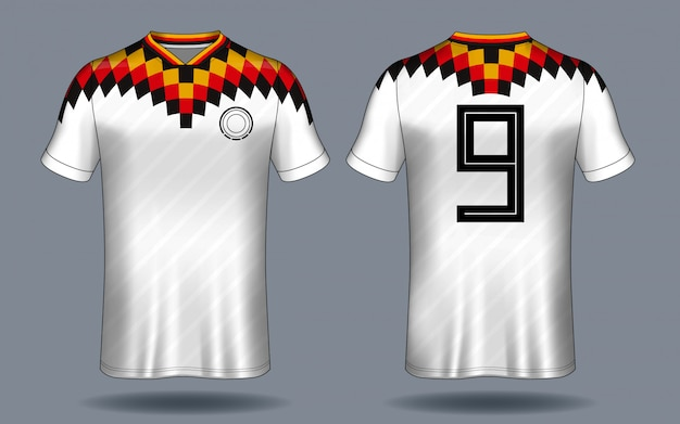 Camisa de futebol esporte t-shirt design. Vetor Premium