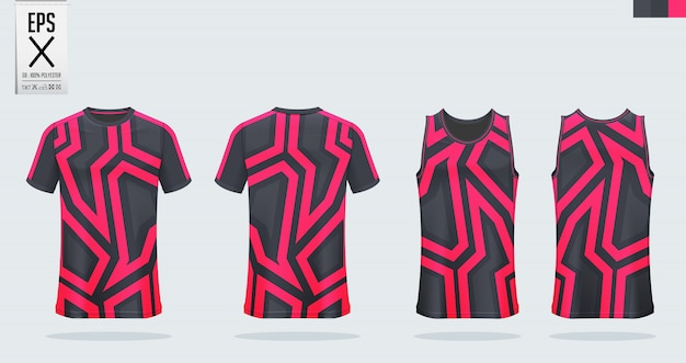Camisa de futebol, kit de futebol, modelo uniforme de basquete. Vetor Premium