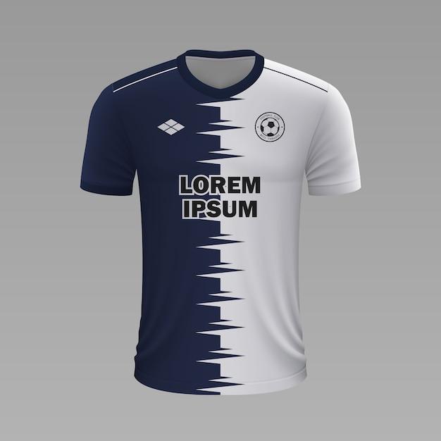 Camisa de futebol realista pachuca, modelo de camisa para kit de futebol Vetor Premium