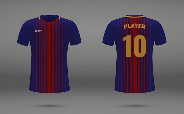 Camisa de futebol realista, t-shirt de barcelona, modelo uniforme para futebol Vetor Premium