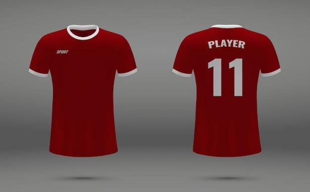 Camisa de futebol realista, t-shirt de liverpool Vetor Premium