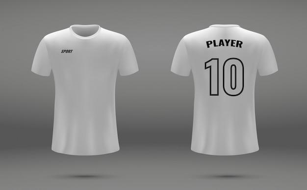 Camisa de futebol realista, t-shirt, modelo uniforme para futebol Vetor Premium