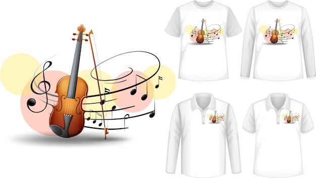 Camisa de simulação com logotipo de instrumentos musicais de violino Vetor grátis