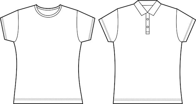 Camisa feminina de t-shirt Vetor Premium