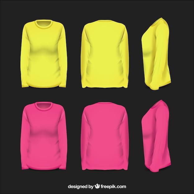 Camisa feminina em diferentes pontos de vista com estilo realista Vetor grátis