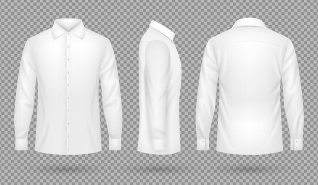 Camisa masculina branca em branco com mangas compridas na frente, laterais, vistas de costas. molde realístico do vetor isolado. homem de camisa em branco, vista de roupas de algodão. ilustração vetorial Vetor Premium