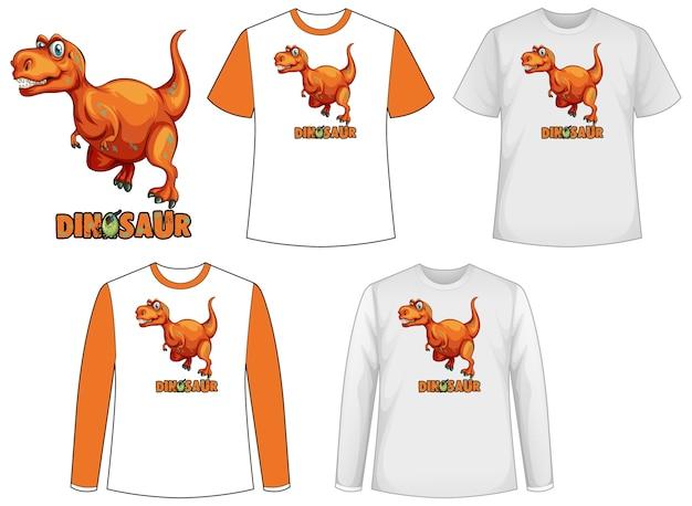 Camisa modelo com personagem de desenho animado de dinossauro Vetor grátis