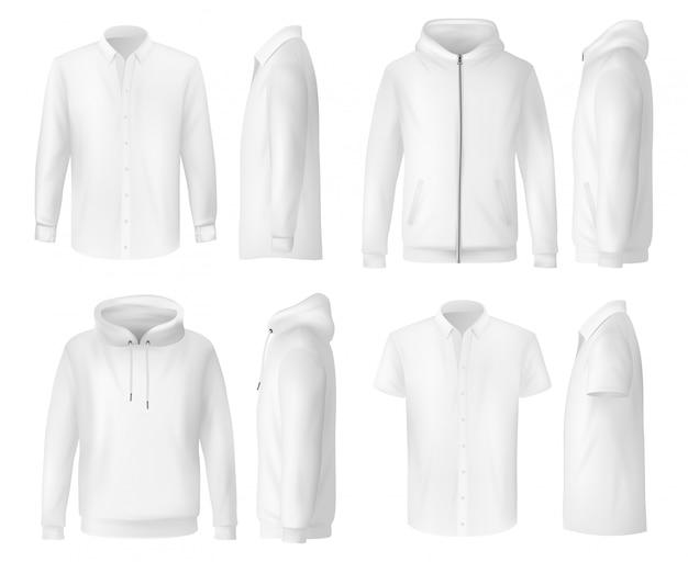 Camisa, polo e moletom, roupas masculinas Vetor Premium