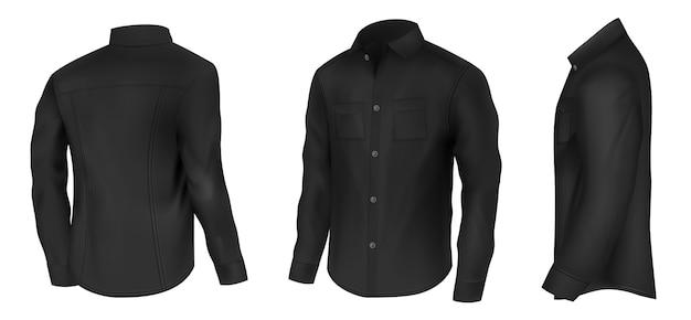 Camisa preta clássica masculina Vetor grátis