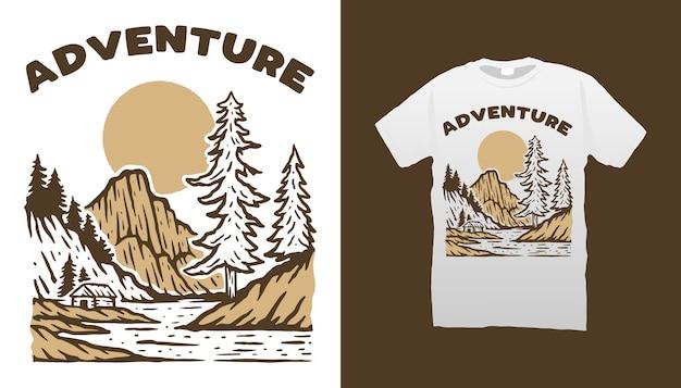 Camiseta aventura Vetor Premium
