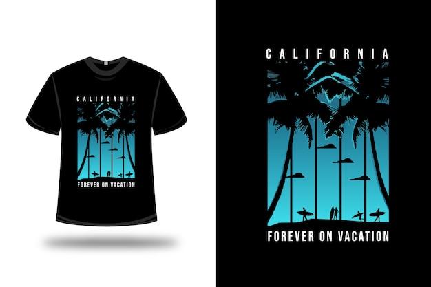 Camiseta california forever on vocation color blue and black Vetor Premium