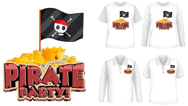 Camiseta com ícone de festa pirata Vetor grátis