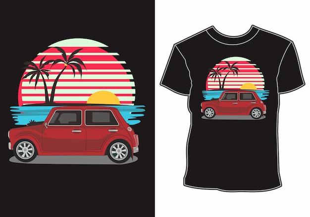 Camiseta de verão, carros clássicos, antigos e retrô estão na praia Vetor Premium