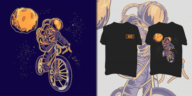 Camiseta do astronauta motociclista Vetor Premium