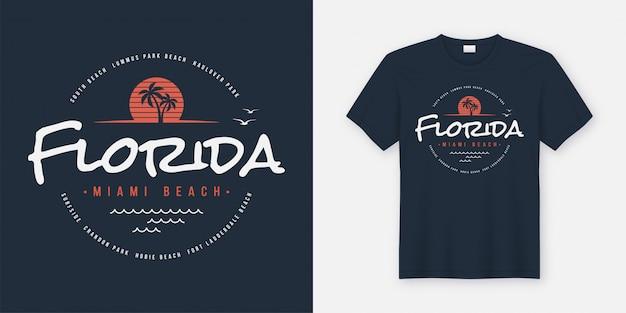 Camiseta e roupas da florida miami beach, tipografia, estampa Vetor Premium